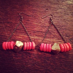 Pink Disk Earrings