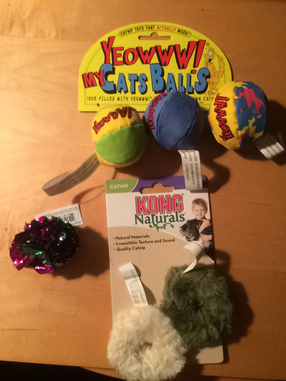 Set of Three Cat Toys Balls