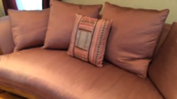 JEFFCO silk and wood sofa and chairs set