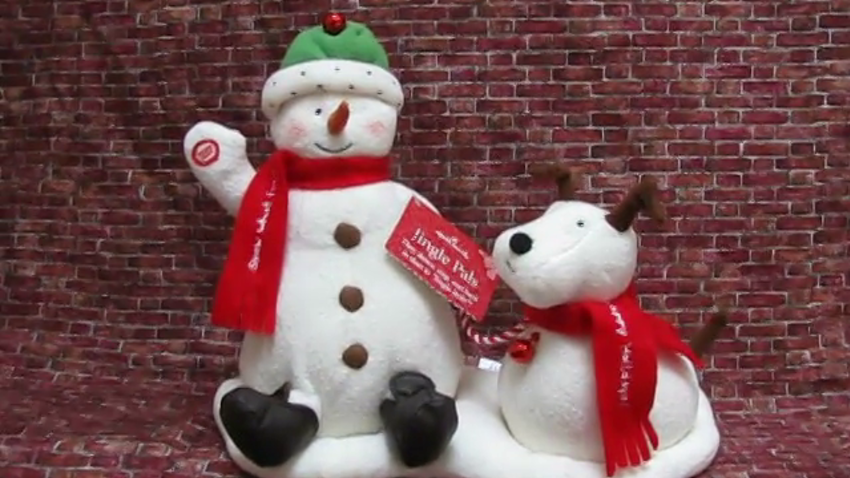 2004 Hallmark JINGLE PALS Animated Snowman & Dog #SellWithVideo